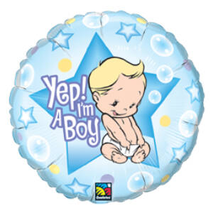 Fiú Vagyok - Yep! I Am A Boy Baby Fólia Lufi Babaszületésre