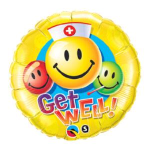 Jobbulást - Get Well Smile Face Fólia Lufi