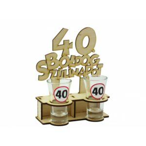 Pálinkás Pohár Szett Boldog 40. szülinapot - 2db 5cl