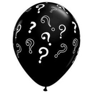 Kérdőjelekkel Mintázott Kerek Fekete Gumi Lufi
