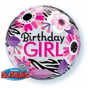 Buborék Lufi - Szülinapi - Birthday Girl Virágos Zebra -56cm