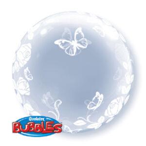 Rózsás És Lepkés Deco Bubble Lufi