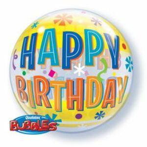 Fun & Yellow Bands Születésnapi Bubble Léggömb - 56cm
