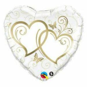 Arany Esküvői Szív Fólia Léggömb, 91 cm