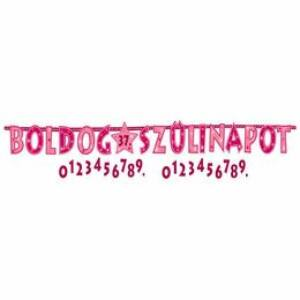 Boldog Szülinapot! Rózsaszín Számozható Betűfüzér - 2,4 m