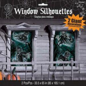 Rémisztő Kísértet Ablakdekoráció Halloween-ra - 165 cm x 85 cm, 2 db