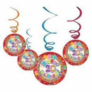 Boldog 20. Szülinapot Színes Parti Dekoráció