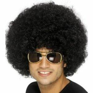 Fekete Funky Afro - Mikrofon Parti Paróka