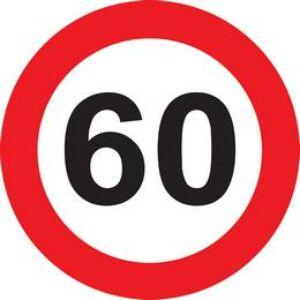 60-As Sebességkorlátozó Szülinapi Tábla - 40 Cm