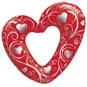 Szerelmes Fólia Léggömb - Hearts & Filigree , 107 cm