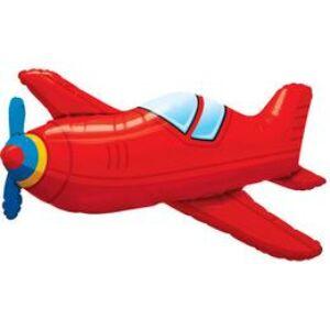 Piros Repülőgép Héliumos Fólia Lufi, 91 cm