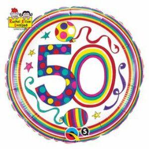 50-Es Számos Polka Dots And Stripes Szülinapi Fólia Lufi