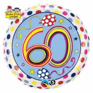 60-As Számos Polka Dots And Stripes Szülinapi Fólia Lufi
