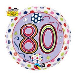 80-As Számos Polka Dots And Stripes Szülinapi Fólia Lufi