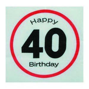 Happy Birthday 40-Es Sebességkorlátozó Szülinapi Szalvéta - 20 Db