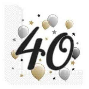 40-es Számos Szülinapi Szalvéta - Elegáns