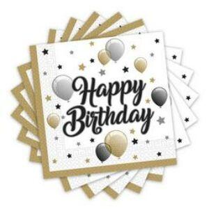 Szülinapi Szalvéta - Elegáns Happy Birthday - 33 cm x 33 cm, 20 db