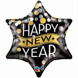 Fekete Csillag Alakú Fólia Lufi Arany-Ezüst Pöttyökkel Happy New Year Felirattal