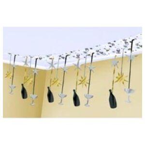 Pezsgősüveges és Poharas Mennyezet Dekoráció - 30 cm x 3,6 m