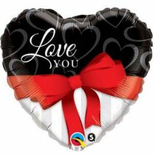 Love You Red Szerelmes Szív Alakú Fólia Lufi