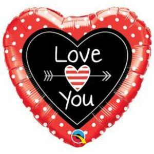 Szerelmes Szív Alakú Love You Dots & Arrows Fólia Lufi