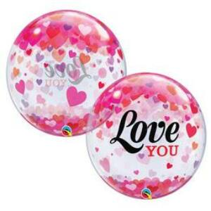 Love You Konfetti Szívecske Mintás Szerelmes Héliumos Buborék Lufi