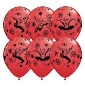 Pókember - Spiderman Piros Lufi - 6db/csomag - 28 cm