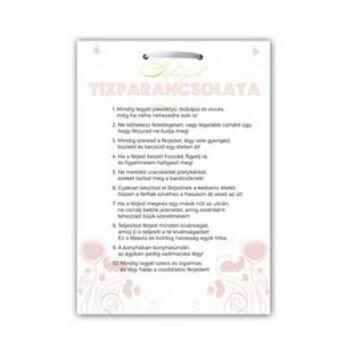 Ajándék Tábla Lánybúcsúra - Feleségek Tízparancsolata