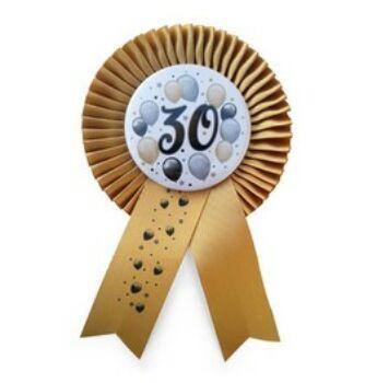 Elegáns Kitűző - Arany Szalagos 30-as Léggömbös