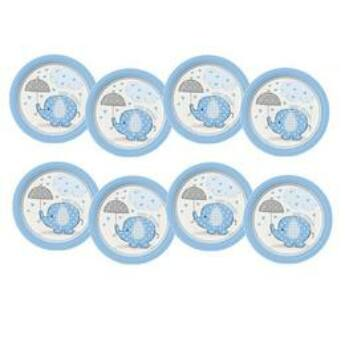 Tányér Babaszületésre - Kék Bébielefánt Mintás 17 cm, 8 db-os