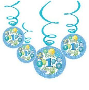 Függő dekoráció - Boldog 1. Szülinapot! Léggömbös Kék Fiús - 6 db-os