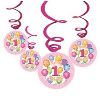 Függő dekoráció - Boldog 1. Szülinapot! Léggömbös Rózsaszín Lányos - 6 db