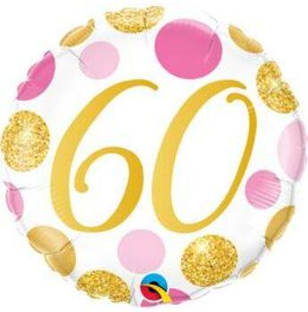 Fólia Lufi - 60. szülinapra, évfordulóra - Pink, Arany pöttyös - 46cm