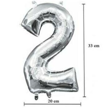 Levegős Ezüst 2-es Fólia Szám Lufi, 35 cm