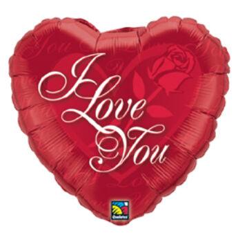 Rózsás Szív - I Love You Red Rose Szerelmes Fólia Lufi