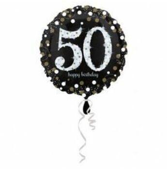 Fólia Lufi - 50-es Happy Birthday fekete-arany-fehér - 45 cm