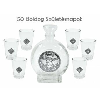 Pálinkás készlet - Boldog Születésnapot 50. - 0,5 L palack + 6db pohár