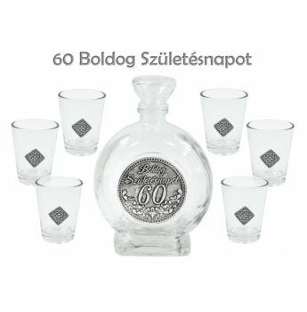 Pálinkás készlet - Boldog Születésnapot 60. - 2,5 dl palack + 6db pohár