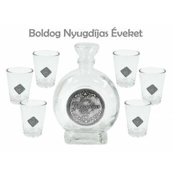 Pálinkás készlet 6db pohár 0,5l palack Boldog Nyugdíjas Éveket