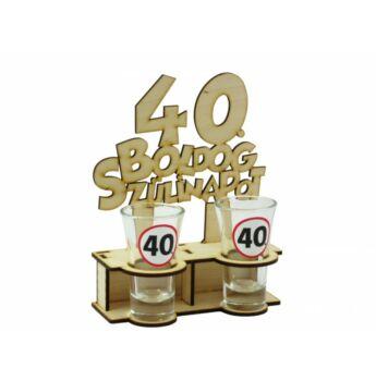 Pálinkás Pohár Szett - Boldog 40. Szülinapot 2db 5cl