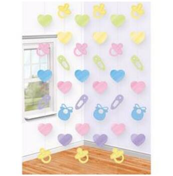 Függő Dekoráció - Baby Shower - 2 m, 6 db