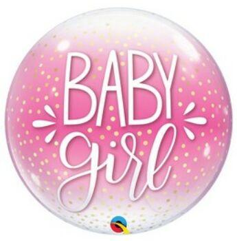 Buborék Lufi - Baby Girl Pöttyös Pink - 56 cm