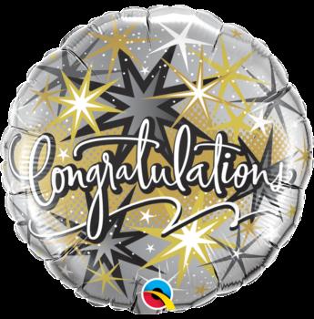 Fólia Lufi - Ballagásra - Gratulálunk, Ezüst-arany-fekete- 46 cm