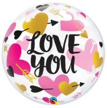 Buborék Lufi - Nyíllal Átlőtt Szív Mintás - I Love You - 56 cm