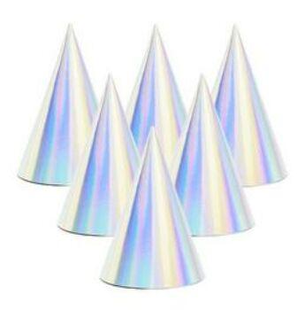 Party Csákó - Fényes Ezüst Hologramos - 6 db-os