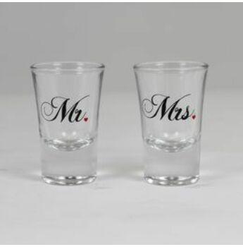 Esküvői Feles Pohár Szett - Mr. És Mrs. Feliratú