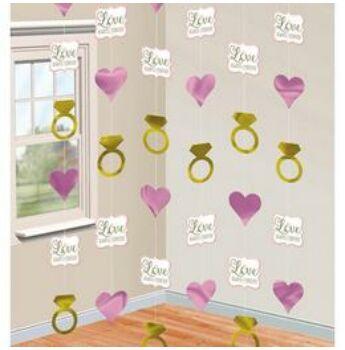 Függő Dekoráció - Szívek és Gyűrűk Esküvői - 2 méter, 6 db-os