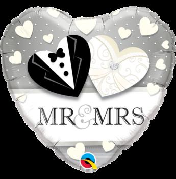 Fólia Lufi - Esküvő - Mr. & Mrs. Szív - 46cm