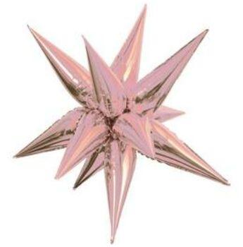 3D Csillag Rózsaarany Levegős Fólia Lufi, 69 cm