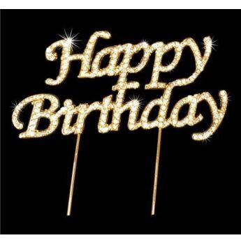 """Strassz beszúró """"Happy Birthday"""" - Arany"""
